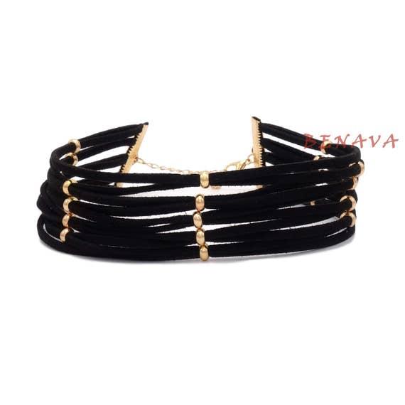 choker halskette kette halsband schwarz gold perle. Black Bedroom Furniture Sets. Home Design Ideas