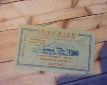 Democratic National Convention 1964 Ticket Distinguished Guest Atlantic City N.J