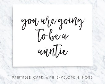 auntie card, auntie printable, going to be an auntie, digital card, printable card, handwritten look, new auntie card