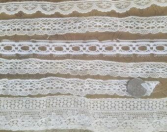 A39 Antique Lace Insertion Edging Trim Lot of 7 Primitive Costume Doll Clothes
