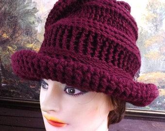 Crochet Floppy Hat,  Womens Crochet Hat,  Womens Hat Trendy,  Steampunk Hat,  Aubergine Hat,  Virginia Wide Brim Hat for Women