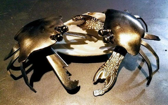 Silverware Crab - Metal Table Art - cancer sign gift - June Birthday Gift - Zodiac Cancer Gift - Silverware Art Decor - Crab - Spoonie Gift
