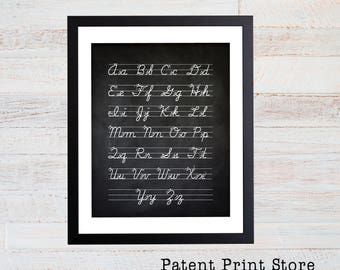 Cursive Alphabet Chart Print. Childrens Room Art Print. Alphabet Poster. Playroom Art. Cursive Handwriting Art. Typography Art Print. 108