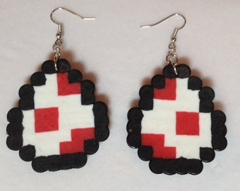 Super Nintendo Red Yoshi Egg Perler Bead Earrings
