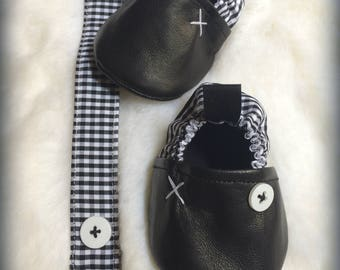 baby 0/6 months in black leather and cotton printed gingham rockabilly with pacifier style matches