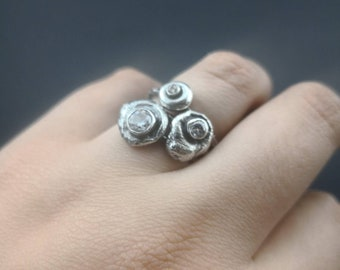 Silber Kiesel Stapeln Ringe weiß Signity kubische Zirkon, die stapelbar set Größe 6 rustikale Schmuck-Geschenk für Frauen handgefertigte Schmuck Recycling-Silber