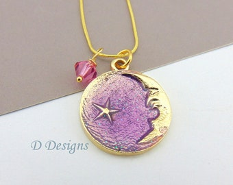 Moon Necklace, Tarnish Resistant Gold Plated Moon Birthstone Necklace