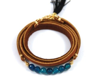 Blue Agate and Leather Wrap Bracelet