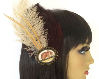 Brown Feather Fascinator, Kentucky Derby, Rabbit Hair Clip, Bunny Hair Clip, Ostrich Feathers, Great Gatsby