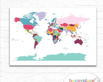 Brightly coloured nursery world map printable file in large printable world map wall art in large 20x30in with lovely bright colors country labels and borders great educational wall art kids bedroom gumiabroncs Choice Image