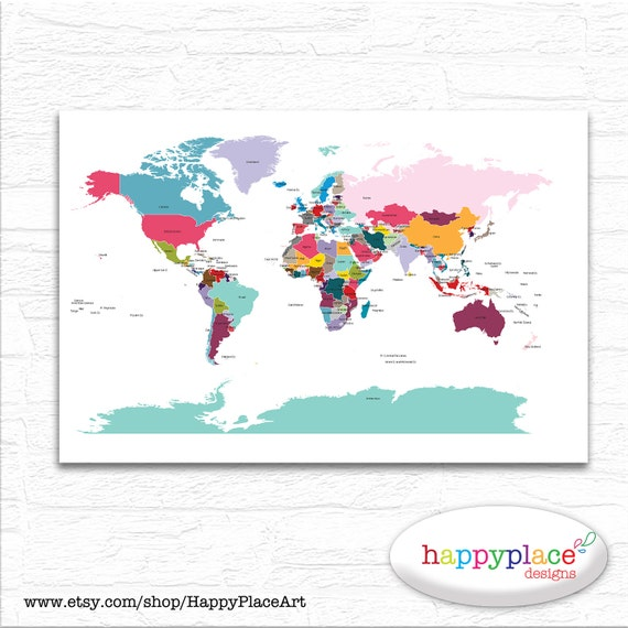 Printable world map wall art in large 20x30in with lovely printable world map wall art in large 20x30in with lovely bright colors country labels and borders great educational wall art kids bedroom gumiabroncs Gallery