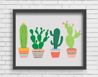 Southwest Cactus Art Print Home Decor Arizona Art - 4 Cactus Print - 8x10 or 11x14