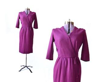 Purple dress vintage 1960s dress 60s dress wiggle dress vintage clothing, wool dress mad men pencil dress winter dress size medium dress