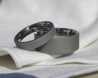 Matching Ring SET, Titanium Wedding Bands, Sandblasted Finish