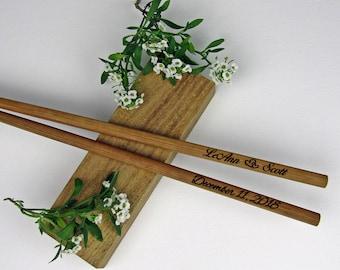 New Engraved Chopsticks, Personalized Chopsticks, Bamboo Chopstick, Wedding Favors, Rustic Chopstick, Wedding Chopsticks, Min. Order 5pr