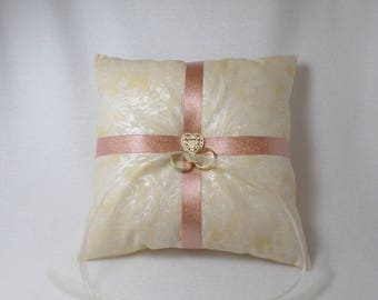 Pink Champagne and Buttercream Filigree Ring Pillow