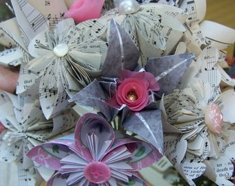 Everlasting Sheet Music Wedding Bouquet With 10 Flowers Tulle and Satin