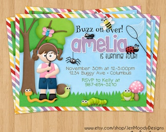 Girl's Bugs Birthday Invite, Creepy Crawly Party Invitation - Printable, Digital, Custom, Girl, Insects, Magnifying Glass, Backyard