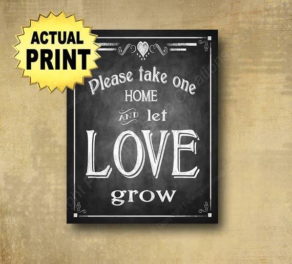 LET LOVE GROW wedding sign, shower favors sign, plant favors, seed packet favors, wedding seed packets, chalkboard wedding favors sign
