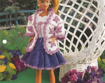 Granny Square Ensemble, Crochet Pattern, Gift Idea, Annies Fashion Doll, Doll Dress, Vintage 1996, Leaflet FCC14-02, Sewing Pattern,Supplies