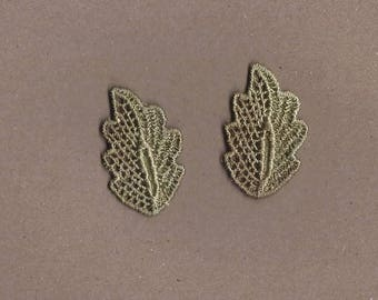 Hand Dyed Venise Lace Appliques Petite Leaf Accents Set of 2 Vintage Green