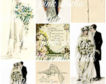 A Vintage Wedding 01,  Printable Collage Sheet (digital download, printable)
