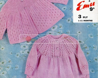 Baby Matinee Coats 3ply 1-12 months Emu 8109 Vintage Knitting Pattern PDF instant download