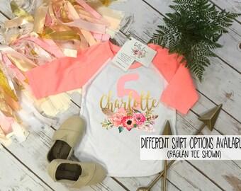Fifth Birthday Shirt, Floral Wreath One, Baby Birthday shirt, Custom Birthday, Personalized Birthday, Birthday girl, Boho Birthday, Peach