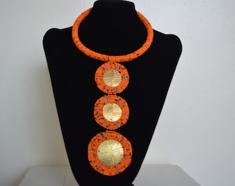 African Beaded Necklace, Maasai Necklace, African Jewelry, Statement Necklace, Orange Pendant Necklace, Tiered Necklace, Tribal Necklace