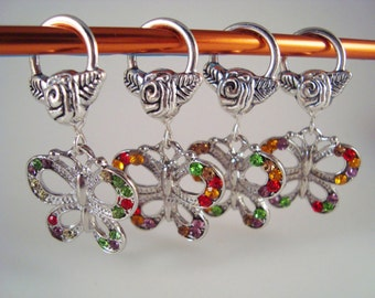 Jeweled Butterfly Knitting Stitch Markers Roses Gems Rhinestones Set of 4/SM140