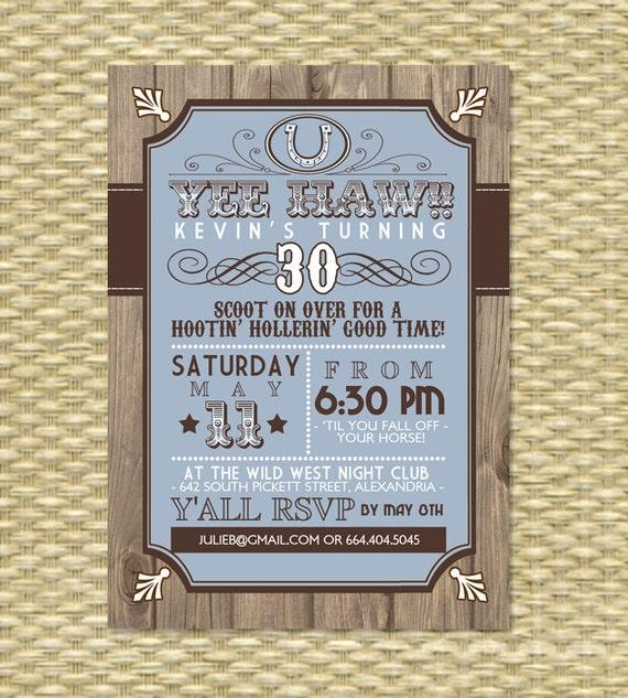 Country western adult birthday invitation western theme 30th filmwisefo