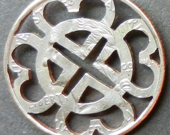 Hearts Celtic Knotwork Hand Cut Coin Jewelry
