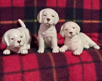 Vintage Lenox Porcelain Lab Puppy Trio