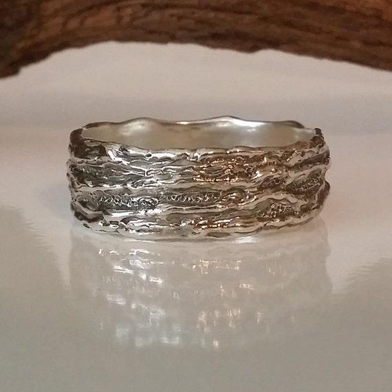 Mens Silver Branch Wedding Band Silver Tree Branch Ring