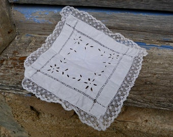 Vintage Antique charming old French small square white cotton  handmade embroiderys &lace doily