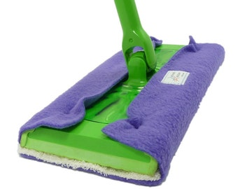 1 FLEECE & TERRY Double Sided Reusable Swiffer Pads, Choose yoru color, EcoGreen Pads, washable Swiffer Sweeper pads, mop and dust, fits 10""