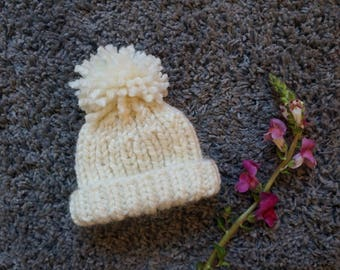 Cream Knitted Baby Hat / Baby Beanie / Chunky Knit Baby Hat / Baby Hat With Pom Pom / Chunky Knit Baby Beanie