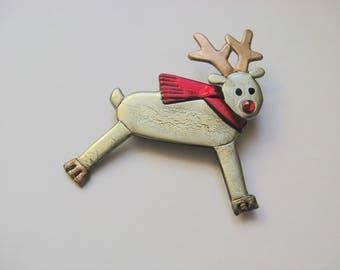 Leaping Reindeer Pin Brooch