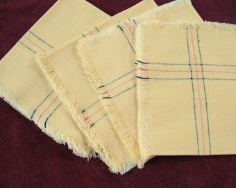 4 Vintage Napkins   Luncheon Napkins   Linen Napkins   Yellow Napkins   Fringed Napkins