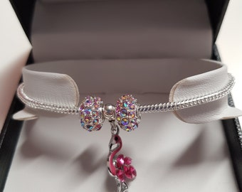 Flamingo Charm Bracelet in presentation box