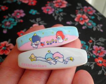 Vintage Kawaii Little Twin Stars Safety Pin Brooch - Sanrio 1976 Retro Hello Kitty Pals Kiki + Lala Star Kids Moon & Stars Pin Jewelry Gift