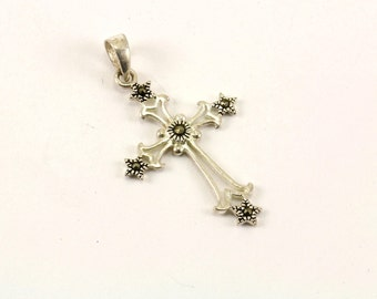 Vintage Marcasite Cross Pendant 925 Sterling PD 406