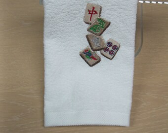 Embroidered Mah Jongg guest towel