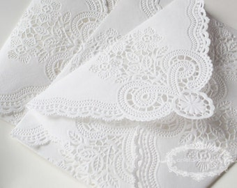 SALE:  Vintage Lace Handmade Envelopes - Vintage Paper Doily Envelopes - set of 10