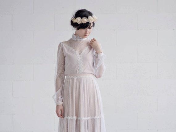 Rue - retro bridal top with poet sleeves