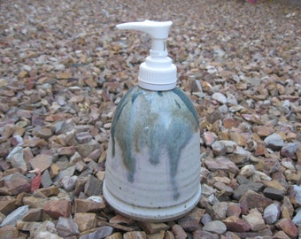Stoneware Soap Pump,  Hand Lotion Pump with Hand Painted Array of Colors, Stoneware Pottery Soap Pump, Stoneware Lotion Pump, Multi-Colored