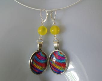 SALE earrings yellow oval glass cabochon bead