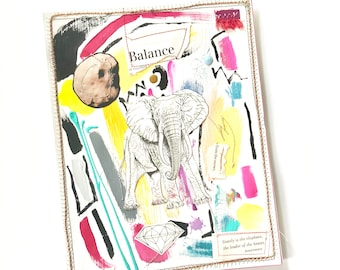 Stately is the elephant - mixed media collage - one of a kind - handmade