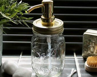Ball Mason Jar Vintage Style Soap/Lotion Dispenser in Clear Glass with Retro Gold Lid & Pump **UK SELLER**