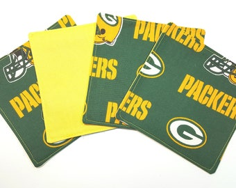 Football Green Bay Packers Fabric Coasters - Set of 4